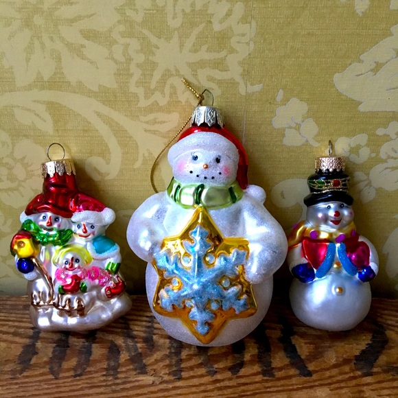 Set of 3 Glass Snowmen Christmas Ornaments